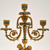 Pair of Antique French Victorian Gilt Bronze Champlevé Candelabra (2 of 12)