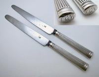 Moses Brent (1802) Solid Sterling Silver & Steel English Georgian George III Large Table/dinner Knives