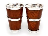 Pair of Late Victorian Oak & Silver Plate Beakers