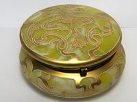 Antique Art Nouveau Loetz Art Glass Round Gilt Floral Trinket Box (31 of 33)