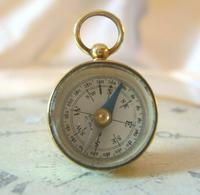 Vintage French Pocket Watch Chain Compass Fob 1940s Chunky Brass Drum Case Fwo (3 of 10)