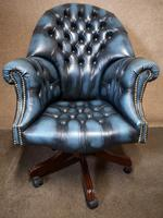 Directors Blue Leather Chesterfield Captains Office Chair