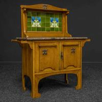 Arts & Crafts Oak Washstand with Marble Top (4 of 14)
