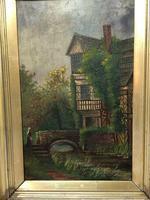 Edwardian Oil Painting Historical Tudor House Little Moreton Hall Congleton (3 of 12)