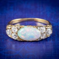 Antique Victorian Opal Diamond Ring 18ct Gold 2ct Opal c.1880 (3 of 6)