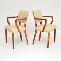 Pair of Vintage Art Deco Walnut Armchairs (7 of 9)