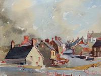 Original Vintage North Wales Coastal Village Landscape Watercolour Painting (4 of 12)
