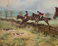 'The Fox Hunt' Original Vintage Country Sporting Pursuit Oil on Canvas Painting (4 of 17)