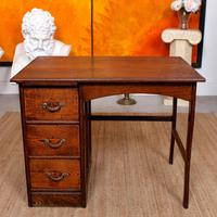 Carved Oak Desk French Writing Table Golden (3 of 15)