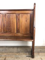 Antique Victorian Pitch Pine Curved Back Pew or Settle (11 of 16)