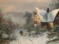 Very Large Outstanding 19th Century British Winter Snow-capped Landscape Oil Painting (8 of 13)