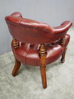 Victorian Walnut and Leather Office Chair (8 of 10)