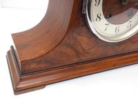 Walnut Hat-Shaped English  8-Day Mantel Clock with Silver & Walnut Dial (7 of 8)