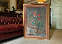 Large Rustic 19th Century French Impressionist Still Life Floral Oil Painting - Minor TLC (10 of 12)