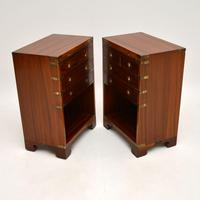 Pair of Military Campaign Style Mahogany Bedside Cabinets (7 of 9)
