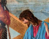 Lovely 19th Century Religious Old Master Christ & Cross Oil Painting - Set 14 Available (8 of 19)