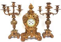 Impressive Candelabra Clock Set French Rococo Ormolu Bronze Mantel Clock. (10 of 10)