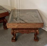 Indian Teak Coffee Table & Side Table Set Carved with Elephants (6 of 11)