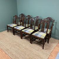 Set of 8 Hepplewhite Design Antique Mahogany Dining Chairs (9 of 10)