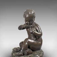 Antique Putto Statue, French, Bronze, Cherub Figure c 1900 (6 of 12)