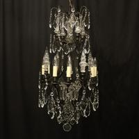 French Bronze & Crystal 8 Light Cage Chandelier