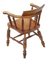 Elm and Beech Bow Armchair Elbow Desk Chair Victorian C1890 (5 of 8)