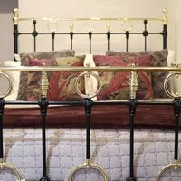 Black Victorian Brass & Iron Bedstead with Brass Circles (8 of 11)