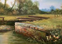 Superb Large Vintage Gilt-Framed Landscape Oil Painting of Barge on the Canal (6 of 13)