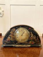 Antique Art Deco Lacquered Chinoiserie Desk Clock