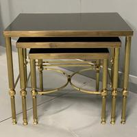 Nest of 3 Brass & Dark Glass Tables (5 of 6)