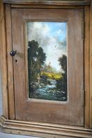 Rustic Pine Corner Cupboard Handpainted Fishing Scene (4 of 12)