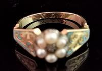 Antique Regency Mourning Ring, 18ct Gold, Blue Enamel (5 of 10)