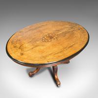 Antique Breakfast Table, English, Walnut, Mahogany, Tilt Top, Oval, Victorian (4 of 12)