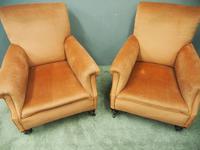 Pair of Victorian Mahogany & Peach Velvet Easy Chairs (8 of 15)