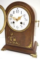 Good Antique French 8-day Arched Top Inlaid Mantel Clock Art Nouveau Mantel Clock (7 of 10)