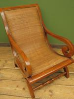 Vintage British Colonial Style Teak & Cane Plantation Chair & Footstool (15 of 17)