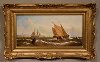 """Oil Painting Pair by William Calcott Knell """"Fishing Boats of the Dutch Coast"""" (5 of 9)"""