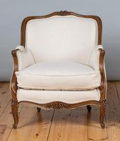 Large French Louis XV Style Walnut Bergere Upholstered Armchair (5 of 11)
