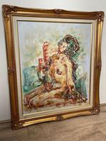 """Impressionism Oil Painting Thailand School """"Posing Nude Lady"""" (4 of 25)"""