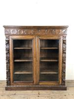 Victorian Glazed Oak Cabinet with Carved Detail (8 of 10)