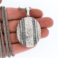 Antique Aesthetic Large Sterling Silver Locket with Long Curb Chain Necklace (11 of 11)