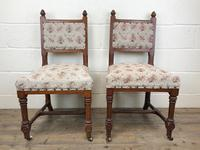 Pair of Antique Victorian Gothic Oak Chairs with Floral Upholstery (2 of 10)