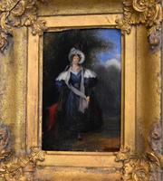 Late Regency Miniature Oil of a Lady (4 of 7)