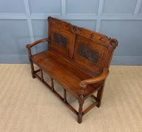 Late 19th Century Carved Oak Bench (12 of 12)