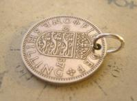 Vintage Pocket Watch Chain Fob 1957 Lucky Silver One Shilling Old 5d Coin Fob (3 of 8)