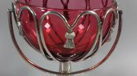 Edwardian cranberry glass silver plated sugar bowl/ bob bon dish swags (12 of 13)