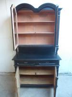 Trendy Art Deco Black 2 Door Pine Arched Glazed Kitchen Dresser (6 of 10)