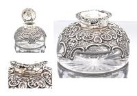 Victorian  Silver Mounted Glass Inkwell. Wm. Comyns & Sons 1895 (4 of 4)
