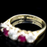 Vintage Ruby & Diamond 18ct 18K Yellow Gold Five Stone Ring (6 of 10)