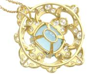 22.32ct Aquamarine, 7.62ct Diamond & 18ct Yellow Gold Pendant - Vintage c.1950 (5 of 9)